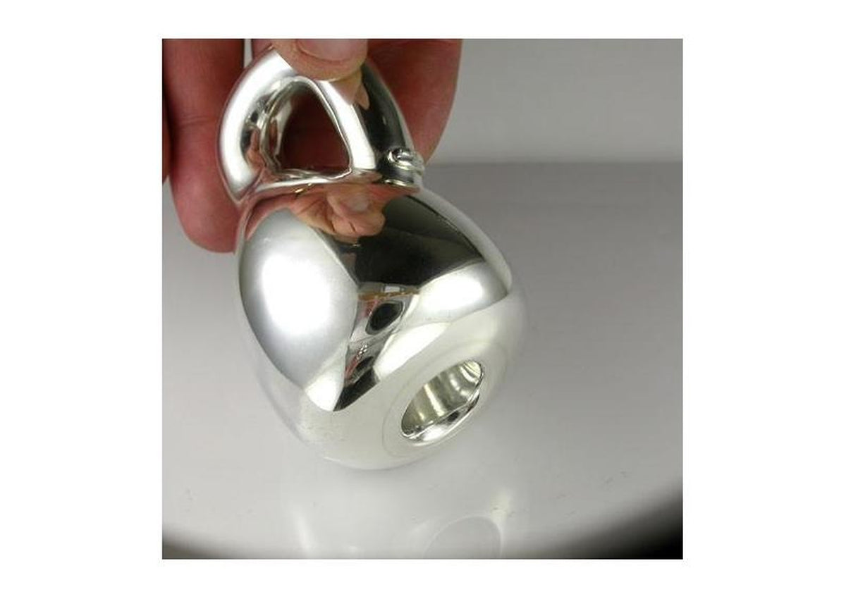Silver 'Klein Bottle' baby's rattle - client commission