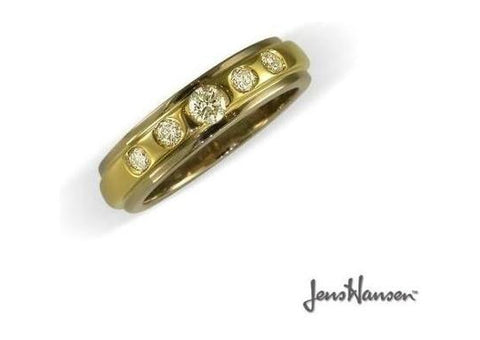 18ct Bi-Tone band wtih Diamonds   - Jens Hansen