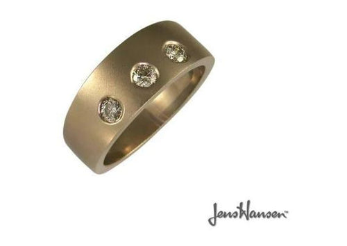 Satin Finish Red gold & Diamond Ring   - Jens Hansen