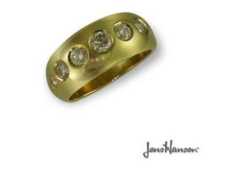 Classic gold dome ring set wtih Clients Diamonds   - Jens Hansen