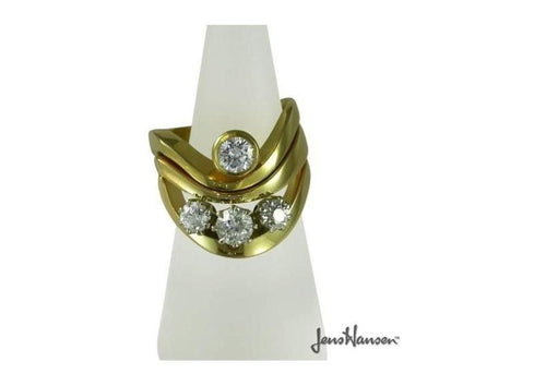 Gold & Three diamond wavy ring   - Jens Hansen