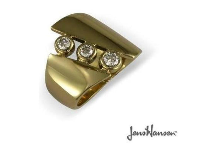 9ct Yellow gold and diamond ring.   - Jens Hansen