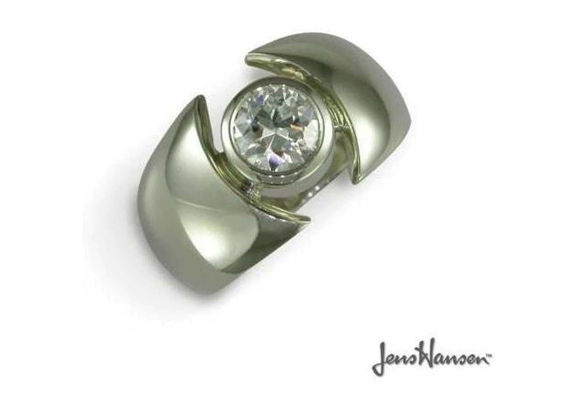 White Gold & Diamond Solitaire   - Jens Hansen