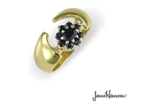 Client antique sapphire gem cluster set in our JW158 style ring.   - Jens Hansen