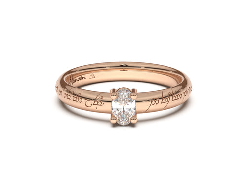 Oval Contemporary Slim Elvish Engagement Ring, Red Gold
