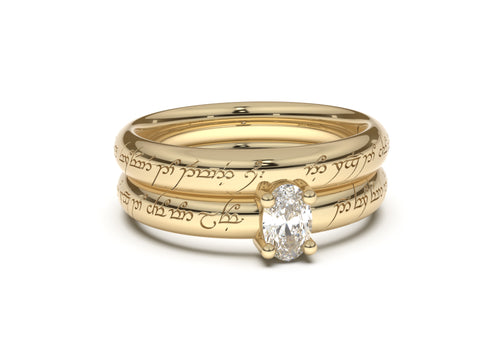 Oval Contemporary Slim Elvish Engagement Ring, Yellow Gold