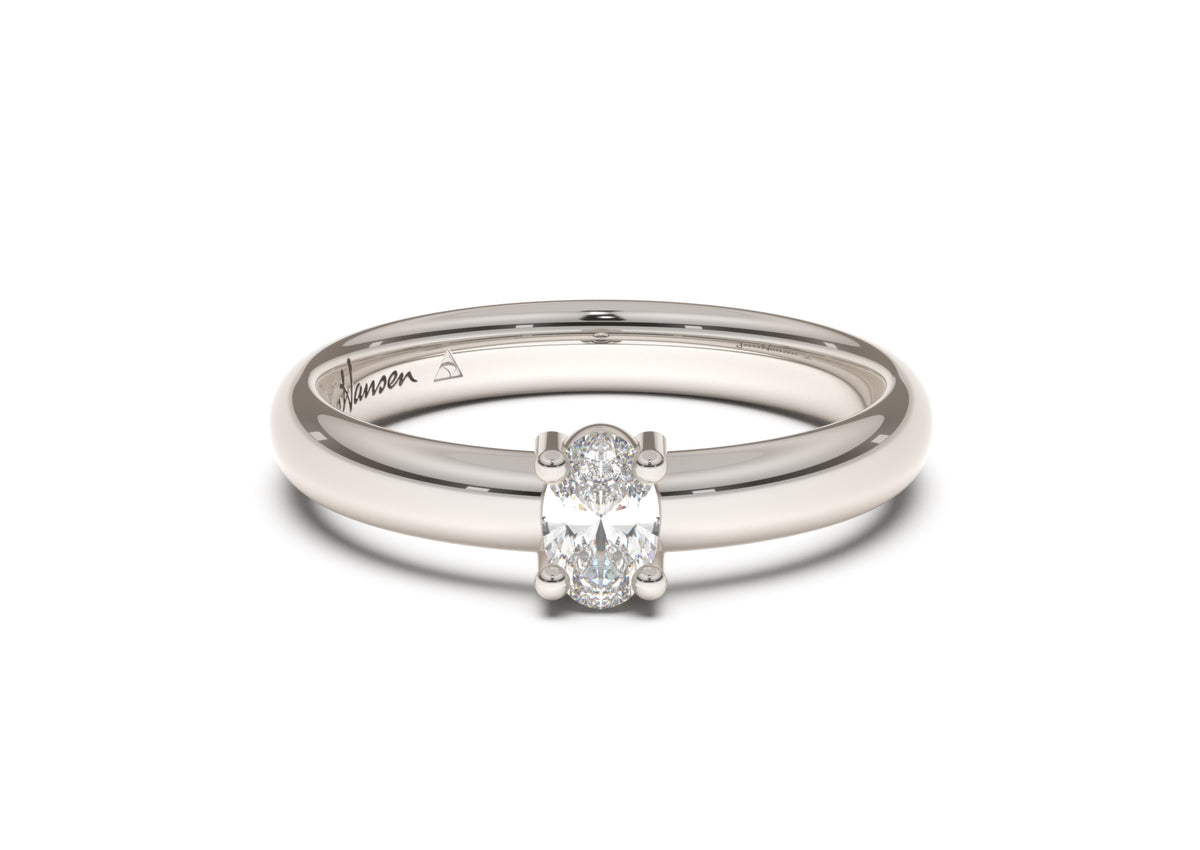 Oval Contemporary Slim Engagement Ring, White Gold & Platinum