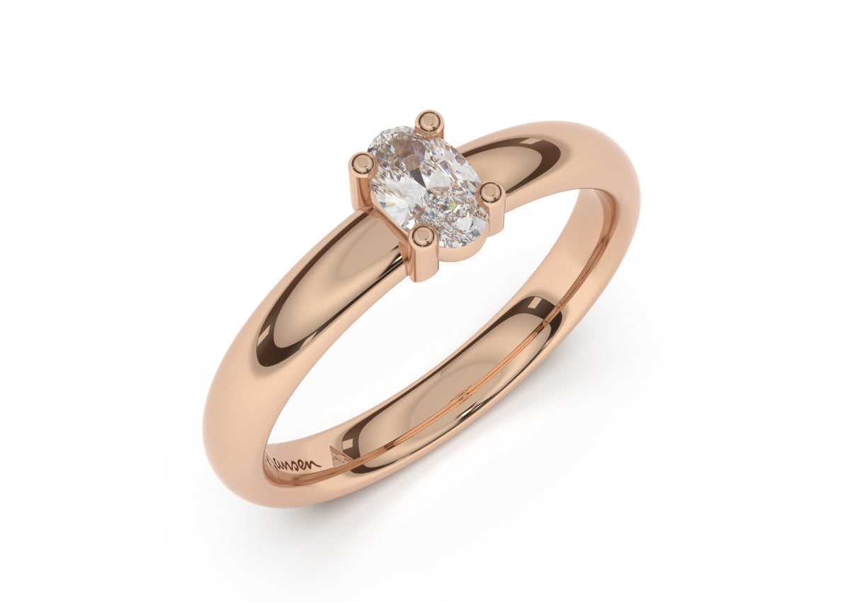Oval Contemporary Slim Engagement Ring, Red Gold