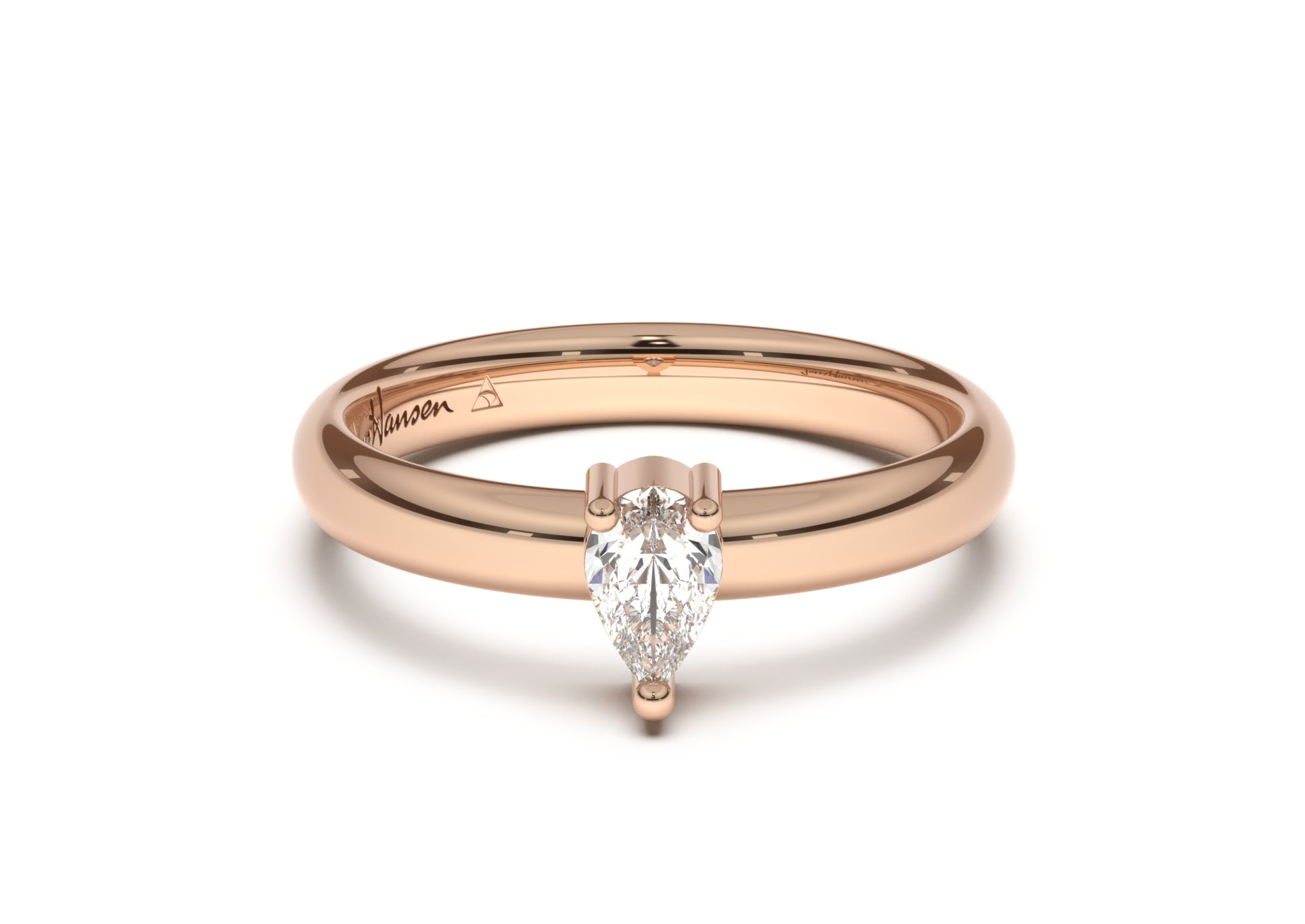 Pear Classic Slim Engagement Ring, Red Gold