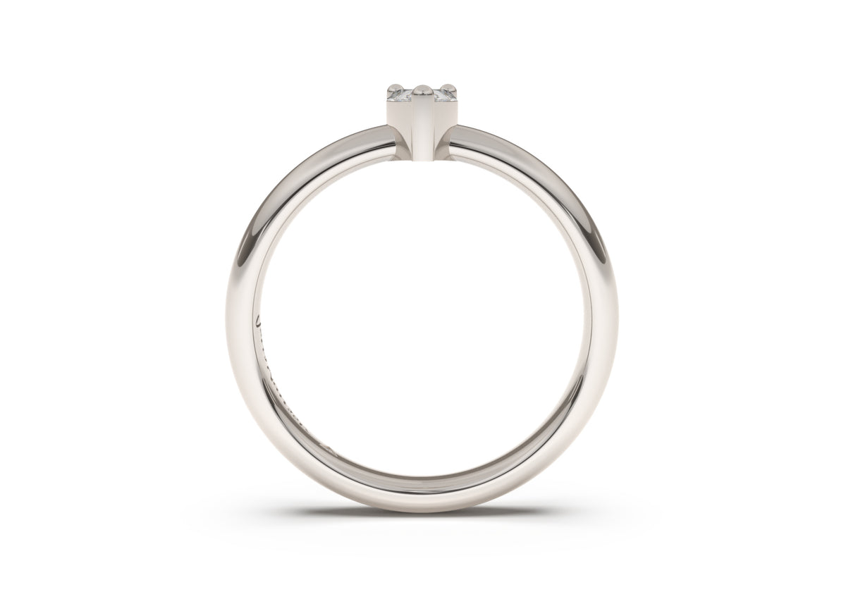 Pear Classic Slim Engagement Ring, White Gold & Platinum