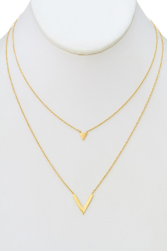 Gold Triangle Layered Necklace