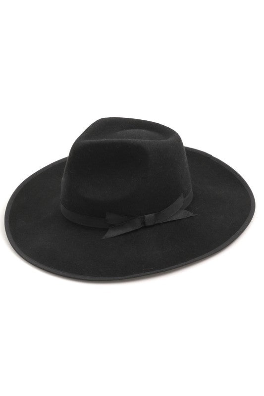 Bow Flat Brim Hat (Black)