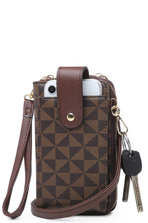 Geometric Crossbody Bag (Brown)