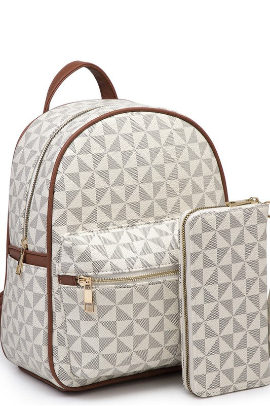 Geometric Mini Backpack (White)