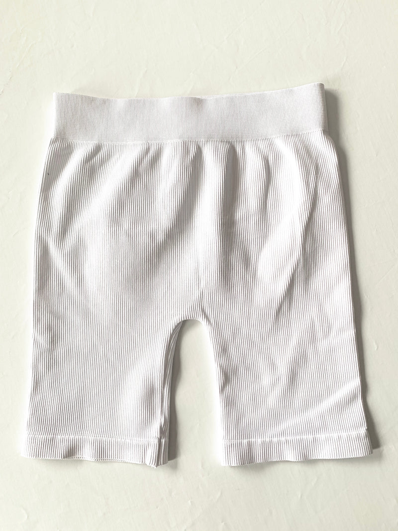 Ribbed Biker Shorts (White)