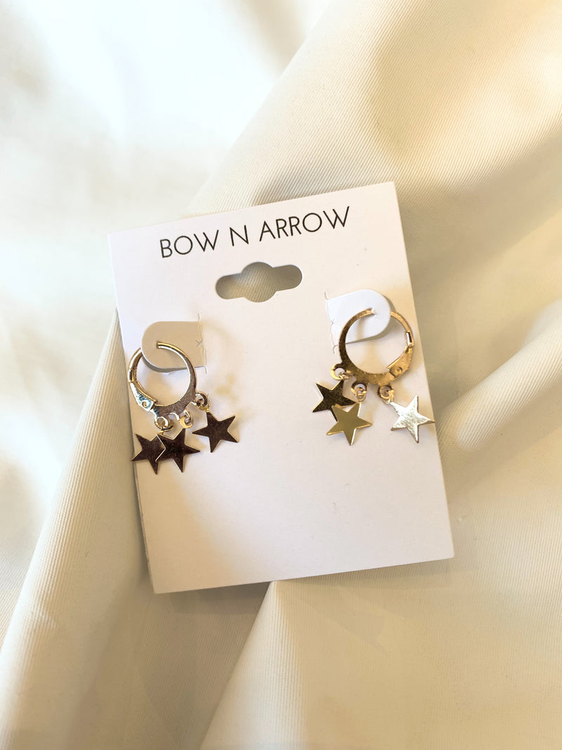3 Star Dangle Hoop Earring