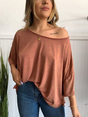 Relaxed Knit Top (Brick)