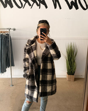 Plaid Textured Pea Coat