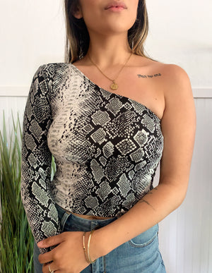 Shelly Snake Print Top (Grey)