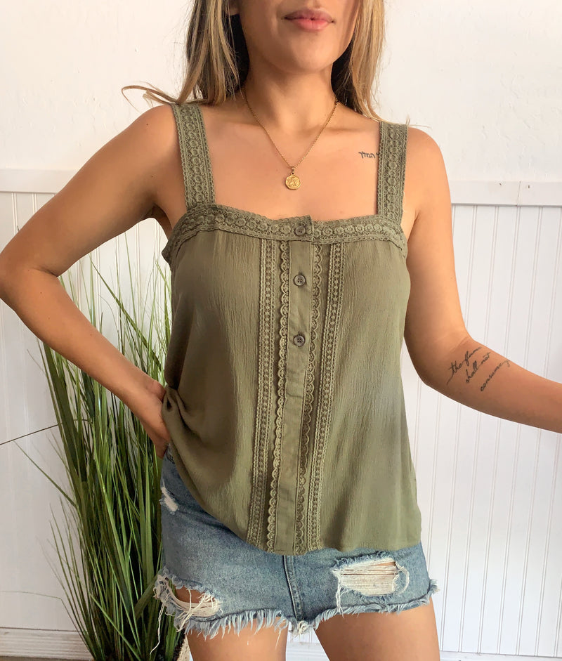 Woven Detail Tank (Olive)