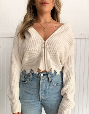 Cozy Knit Zip Up (White)