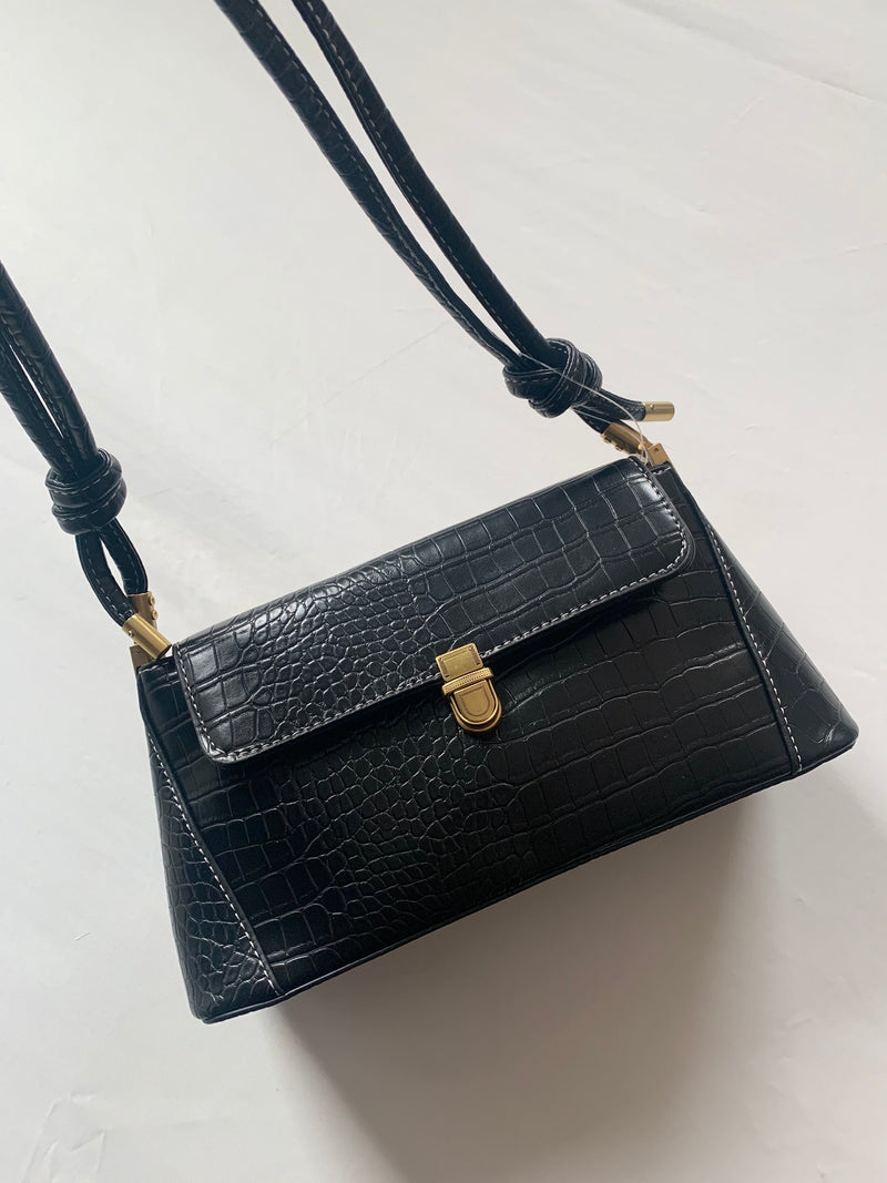 Snake Skin Shoulder Bag (Black)