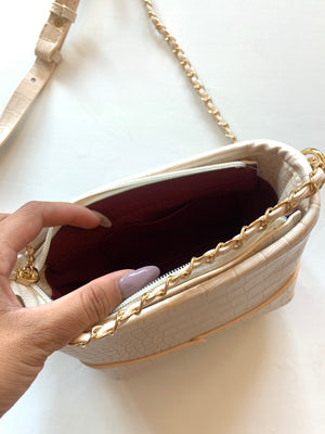 Crocodile Shoulder Bag (Bone)