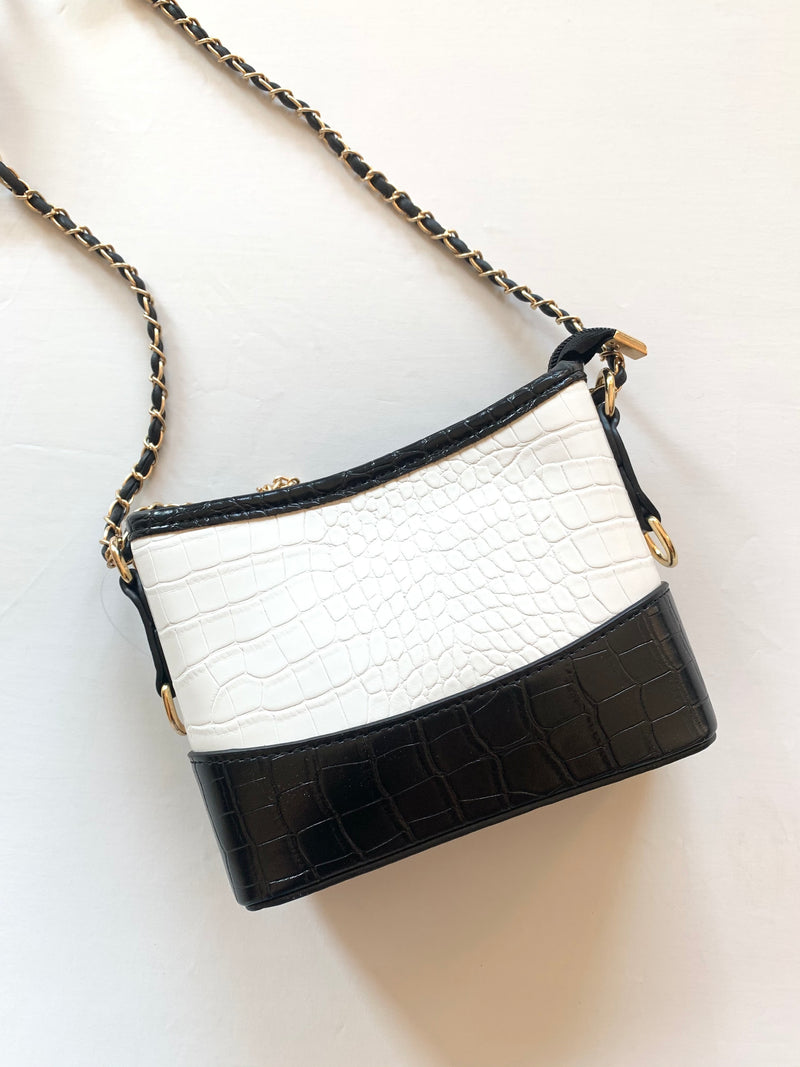 Crocodile Crossbody Bag (Black/White)