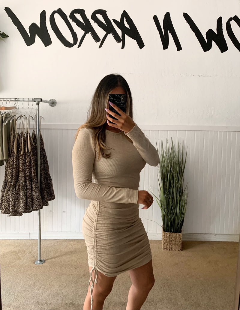 Ribbed Ruched Dress (Tan)