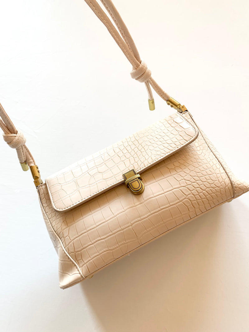 Snake Skin Shoulder Bag (Bone)