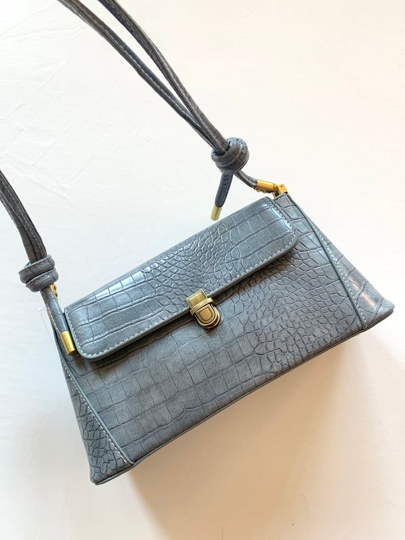 Snake Skin Shoulder Bag (Blue)