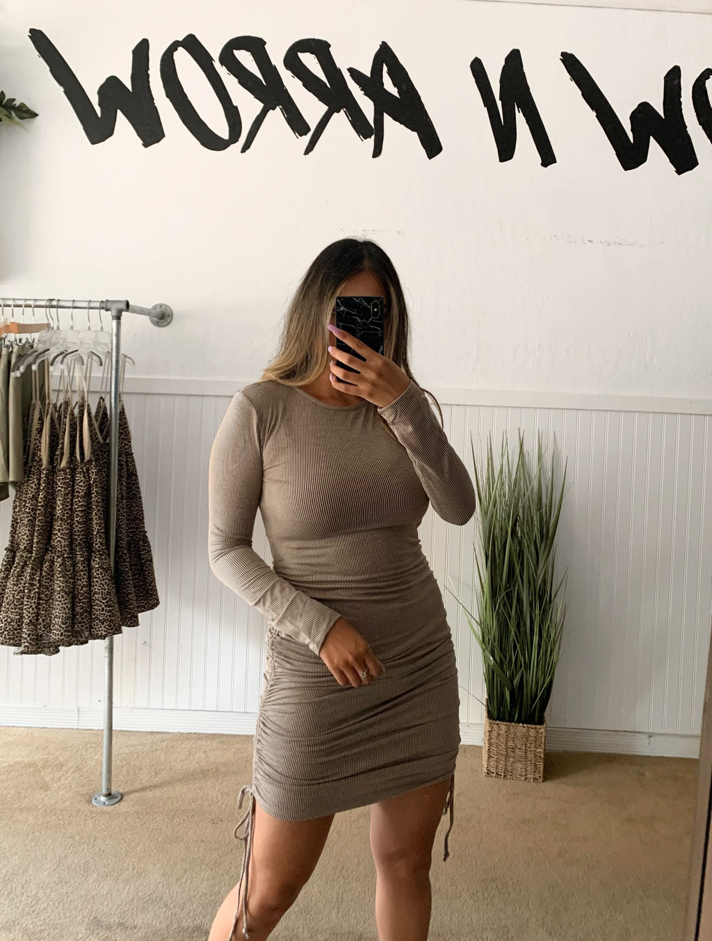 Ribbed Ruched Dress (Dark Brown)