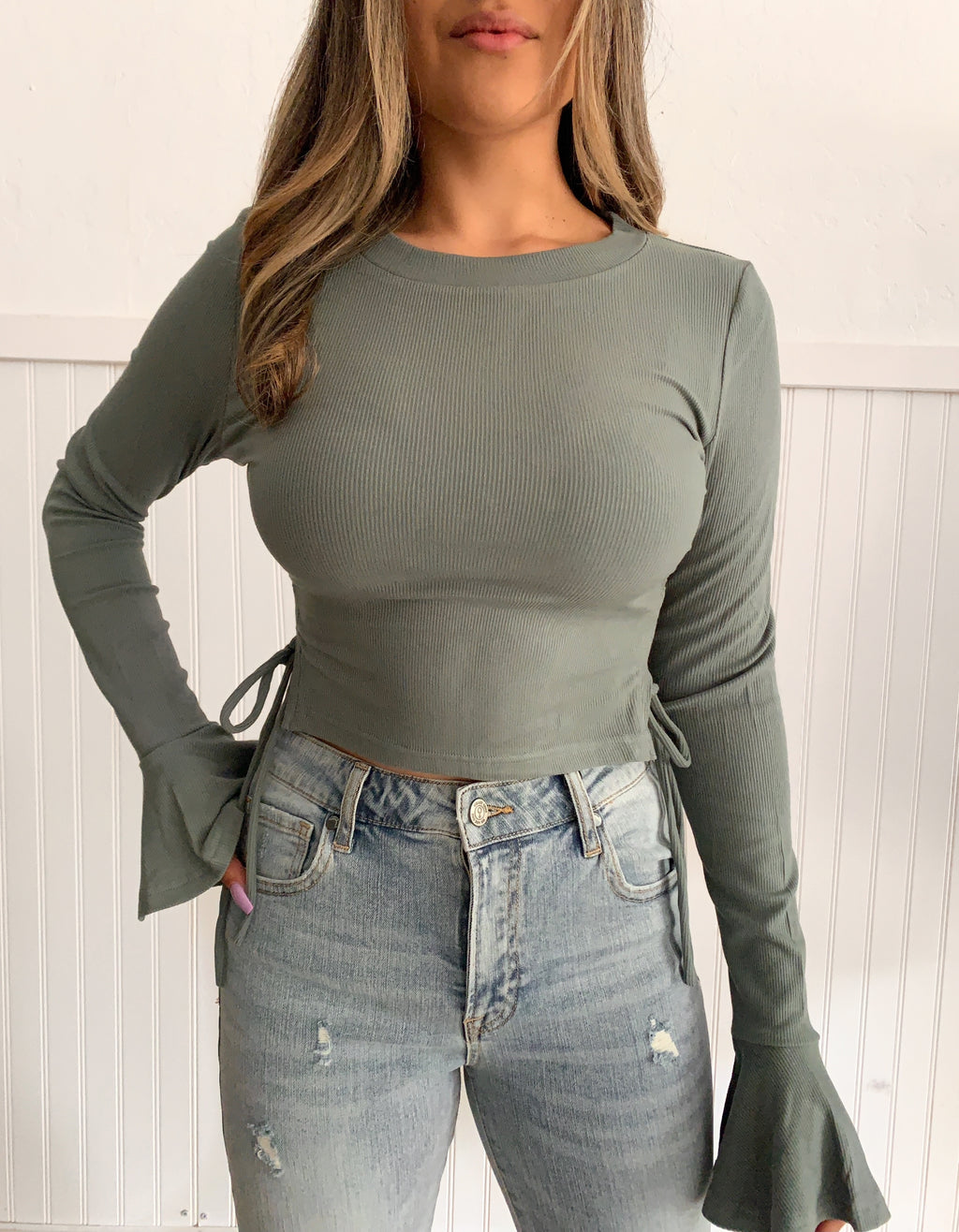 Britt Bell Sleeve Top (Sage)