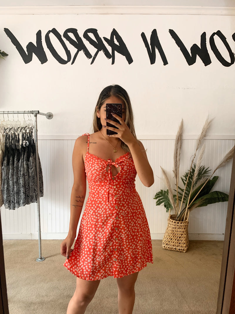 Coral Floral Button Dress