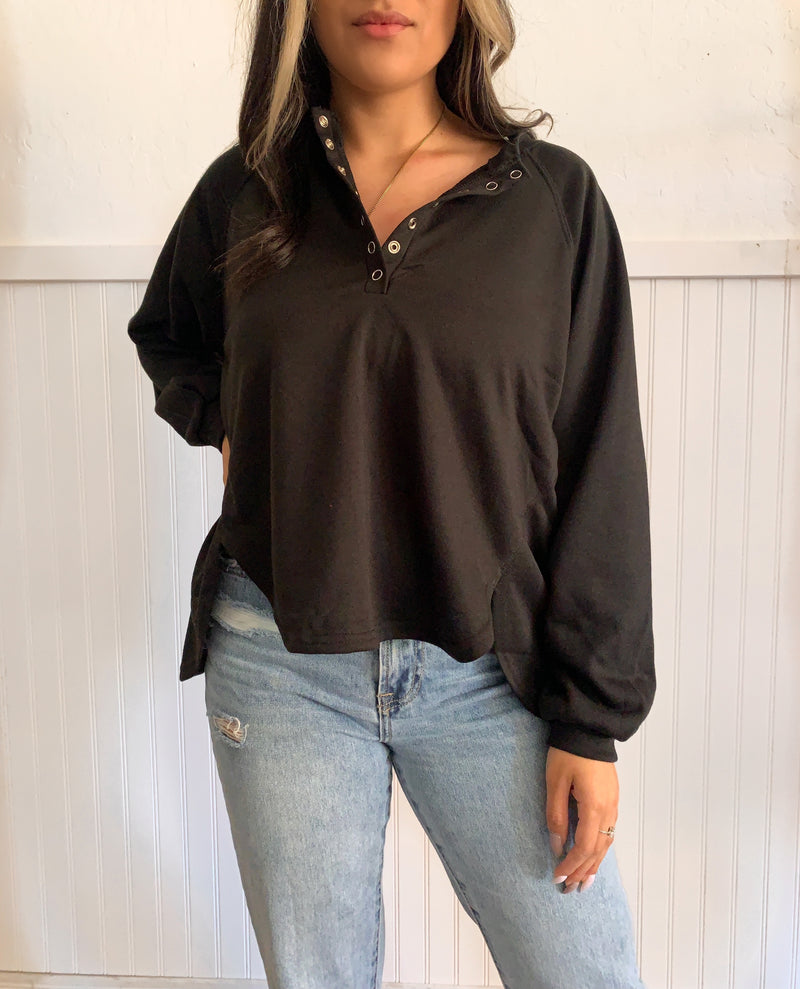 Button Long Sleeve (Black)