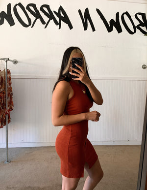 Racerback Slit Dress (Rust)