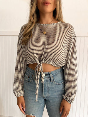 Stripe Hem Top (Ivory/black)
