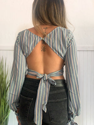 Stripe Tie Back Top