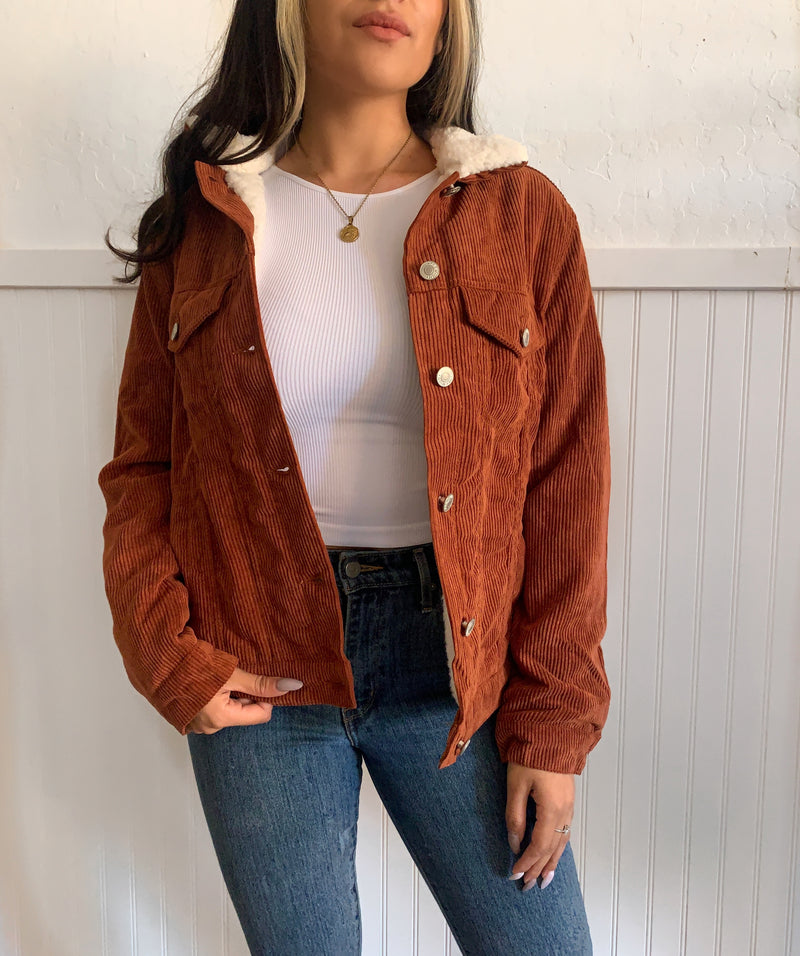 Fleeced Corduroy Jacket (Rust)