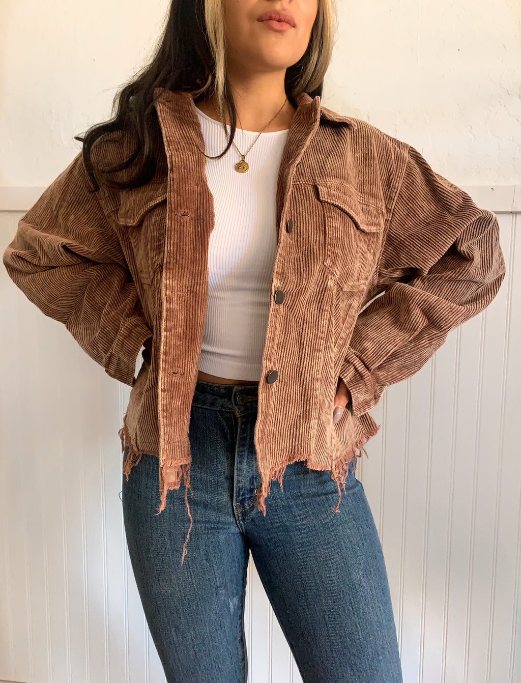 Vintage Corduroy Jacket (Chocolate)