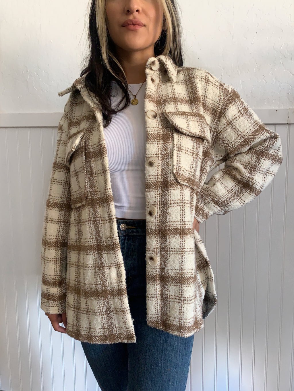 Curly Plaid Jacket