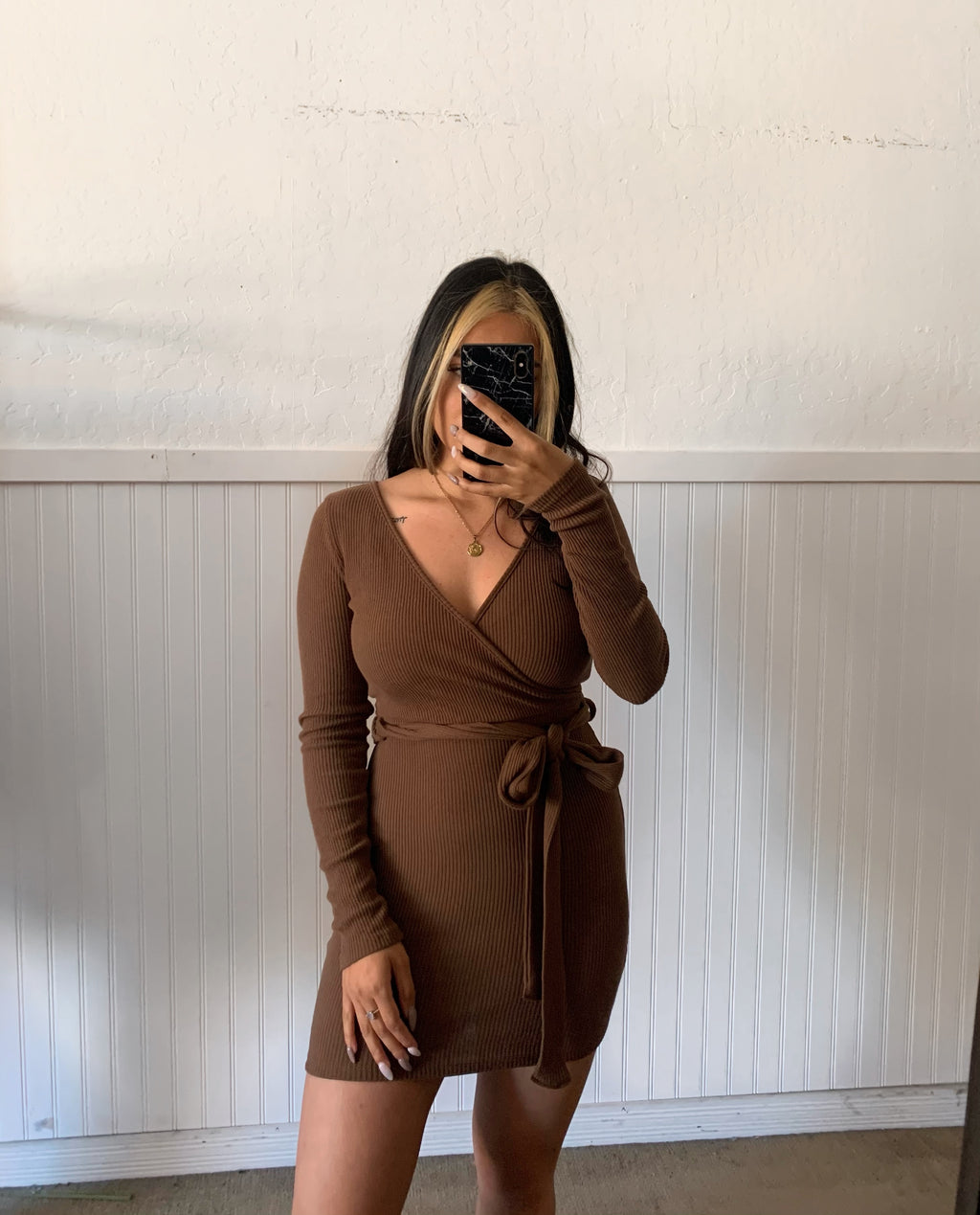 Abby Long Sleeve Dress (Brown)