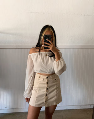Corduroy Skirt (Cream)