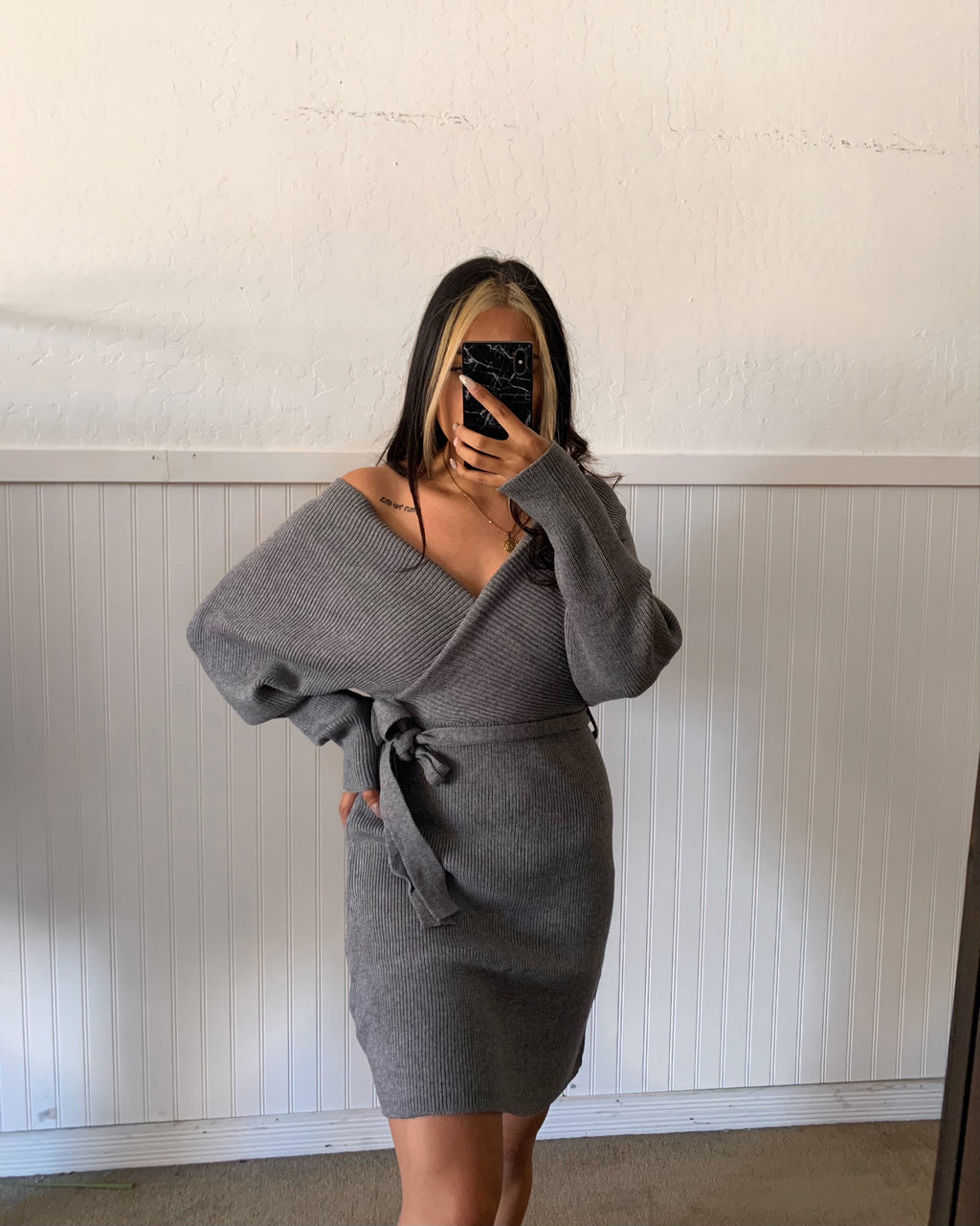 Sammi Sweater Wrap Dress (H. Grey)