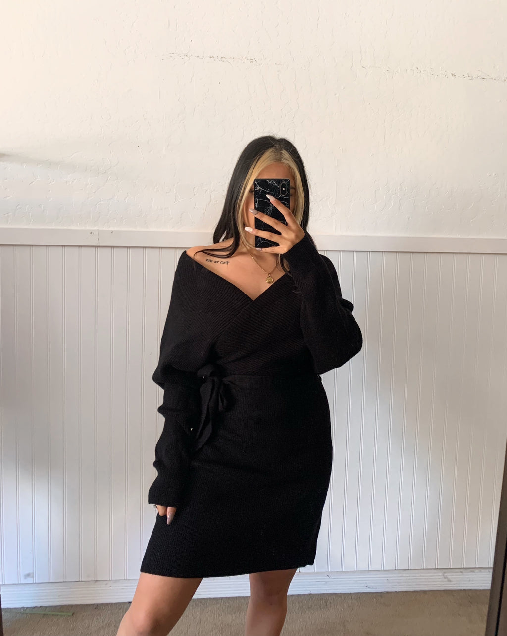 Sammi Sweater Wrap Dress (Black)
