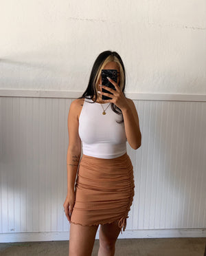 Ribbed Ruched Skirt (Toffee)