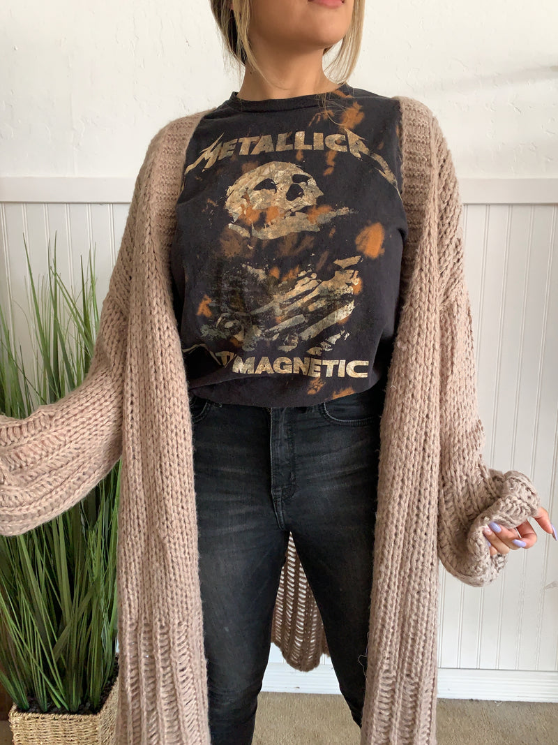 Oversize Knit Cardigan (Taupe)