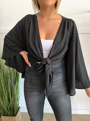 Front Tie Top (Black)