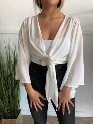 Front Tie Top (White)