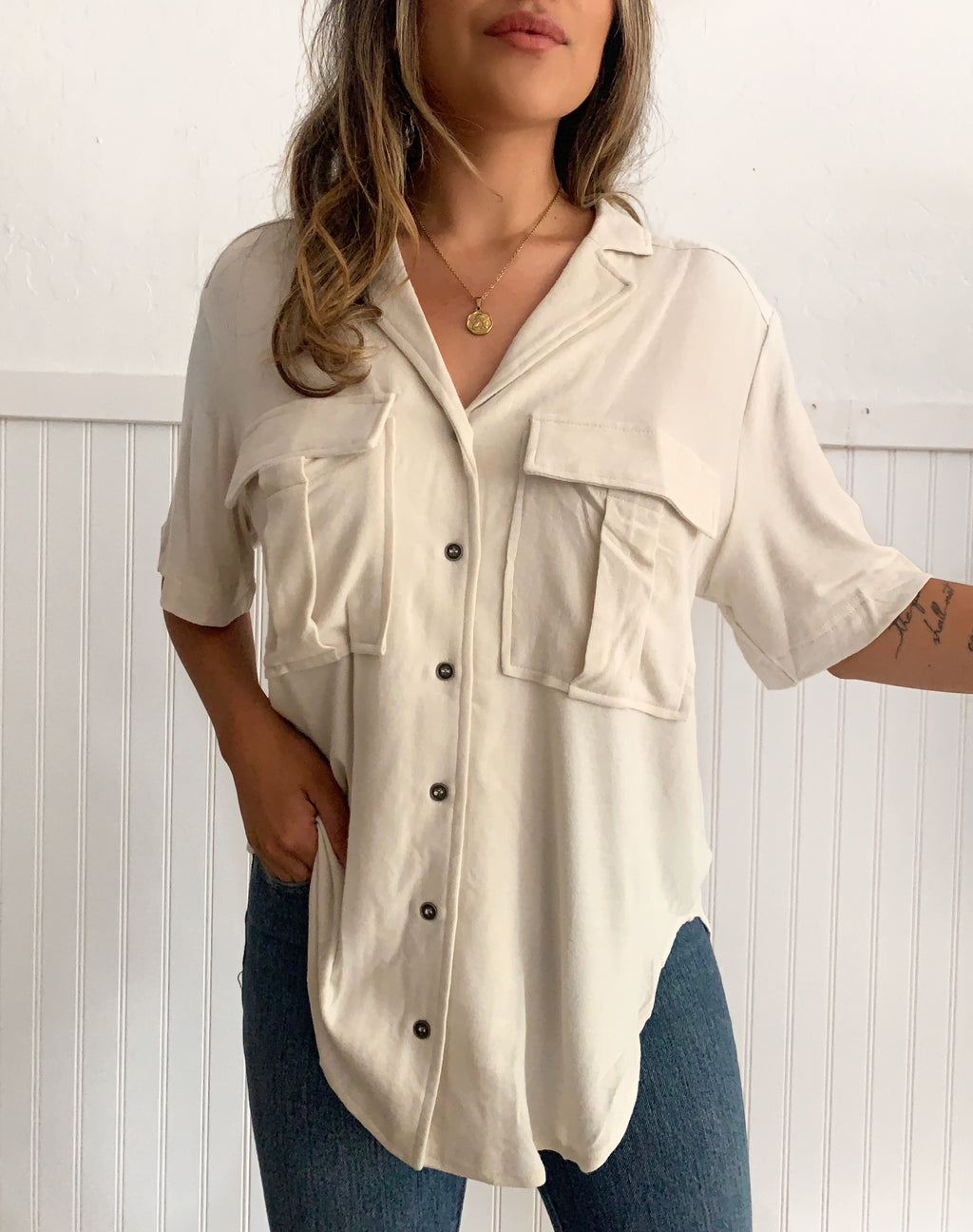 Beige Button Top